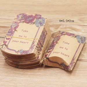 8x5.5cm Mini Candy Box Pillow Shape Kraft Paper Boxes Wedding Birthday Baby Shower Favors Package Supply Christmas Gift Bags