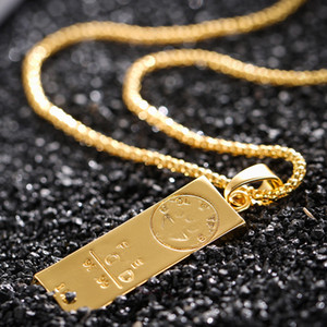 Fashion Stainless Steel Bar Pendant Charm Statement Pendants Necklace Hip Hop Gold Bar Necklaces Men Charm Pendant Jewelry