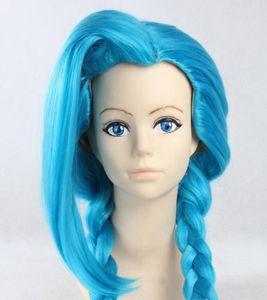 "130cm 51"" LOL Jinx Cosplay Wig Loose Blue Braids Plaits Wig"