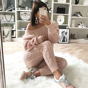 YJSFG HOUSE Womens Sweaters 2PCS Sets Jumpsuit Knitted Top Long Pants Ladies Winter Warm Suits Outfits Bodycon Casual PlaysuitZ1128