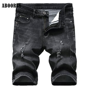 ABOORUN 2020 Summer Mens Ripped Hole Denim Shorts Elastic Distressed Washed Jeans Shorts for Male P8027
