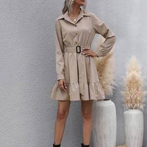 Fashion Office Lady Belted Shirt Robe Spring Fall 2021 Mini robes plissées à manches longues élégantes pour les vêtements Y2K