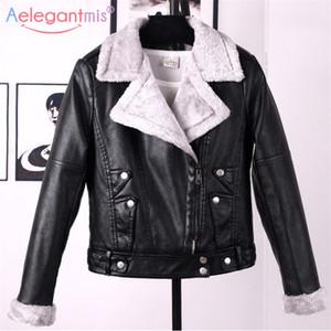 wholesale Autumn Winter Leather Jacket Women Faux Fur Coat Ladies Slim Short Motorcyle Biker Jacket Basic Warm Plush Outerwear