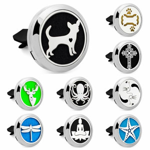 Starfish Cross dragonfly dog pet Essential Oil Car Diffuser Locket Vent Clip 316L Stainless Steel Perfume locket Magnetic 10Pads