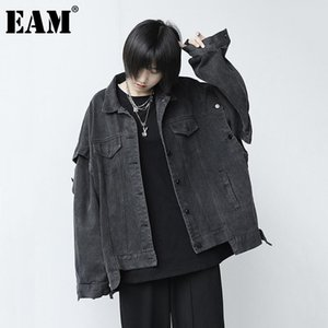 [EAM] Loose Fit Two Ways Wear Big Size Denim Jacket New Lapel Long Sleeve Women Coat Fashion Tide Spring Autumn 2020 1DB719