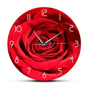 Red Rose Flower Print Custom Name Wall Clock Modern Floral Bedroom Decor Personalized Gift For Her Botanical Wall Art Clock