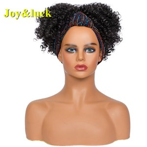 Joy&luck Hair HeadBand Short Black Wig Wrap Synthetic Wigs for African Women Color Turban Hair Wigs