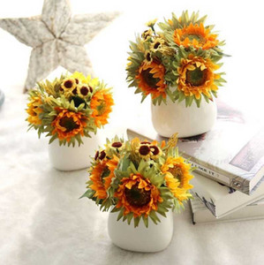 Artificial Silk Sunflower Flowers Bouquet Decorative Flower Wedding Decorations Office Party Garde DecorWholesale WZW-YW3682