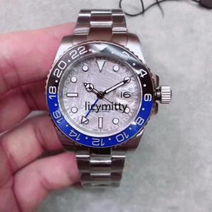 Горячие продажи мужские часы ретро граффити циферблат 2813 автоматический механический GMT лица 18CT из нержавеющей стали керамическая рамка сапфировый стекло