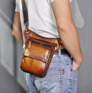 Leather Men Casual Fashion Small Shoulder Sling Bag Multi-function Design Travel Fanny Waist Belt Pack Drop Leg Bag 211-4-lb