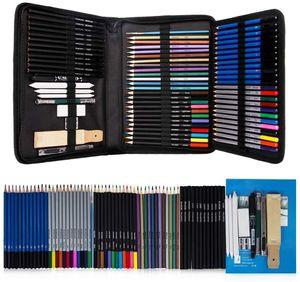 71pcs Drawing Sketch matite a legna carbone / grafite / acquerello / metallizzato / colorato Matita per la pittura di schizzo Colorare Professional Set 201102