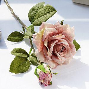 Realista Curled Rose Gifts Daily Home Decoraciones de Navidad Hotel Artificial Flor Rose Ramo Boda Colocación Props VTKY2180