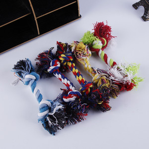 Animali domestici Cane Cotone Mastica Knot Toys Colorful Durevole intrecciato Bone Corda 18 cm Divertente cane gatto giocattoli di alta qualità M2