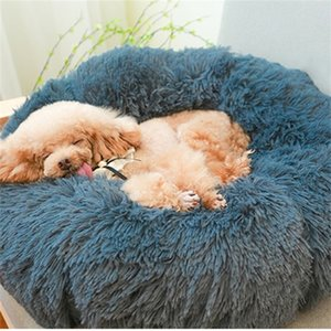 Super Soft Pet Winter Warm Sleeping Bed for dogs Kennel Dog Round Long Plush Puppy Cushion Mat Portable Cat Supplies 201223