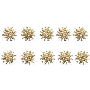 10 unids Hotel Servillet anillo servilleta titular de la servilleta Redondo Flor de perlas Hebilla de Navidad Boda de Navidad Gold Cosa Cena Tabla D1