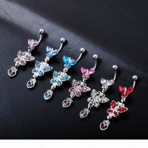 D0108-2 ( 4 colors ) Nice style Navel belly ring piercing jewelry 20 pcs PINK color stone 14Guage body jewelry