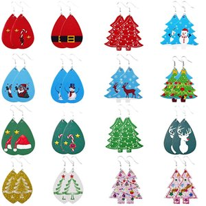 16 styles Christmas ornaments Festive Party Favor Christmas Earrings Christmas Snowman deer Print Leather Earrings Holiday Gift Jewelry