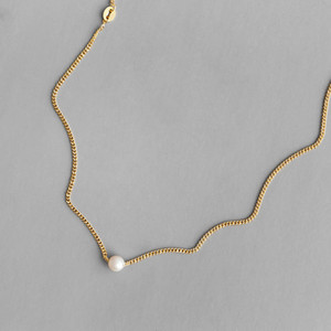 Elegant Women Jewelry 18K Gold Plating Chain Natural Freshwater Pearl Charm Necklace 925 Sterling Silver Baroque Pearl Choker