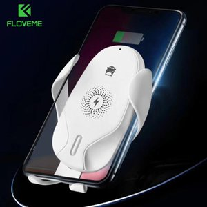 """FLOVEME 6"""" Inch Infrared Sensor Qi Wireless Charging Automatic Clamping Car Phone Holder Stand 10W Quick Charger For Phone InCar"""