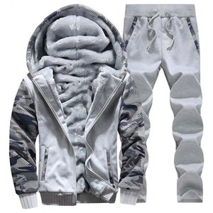 OLOEY Winter Sport Suit Warm Velvet Casual Men Sportwear Sets Thickening Track Suits Hoodie Sweat Suit Tracksuit Set Plus Size