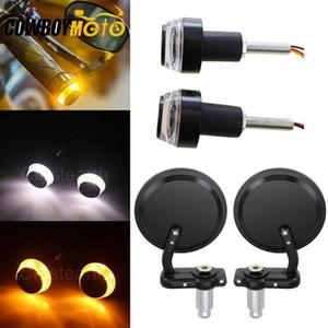"""Bici da moto 22mm 7/8 """"Manubrio Specchi di estremità del manubrio Specchietto retrovisore Signals Signals Signals Bar Grips Plug Universal Cafe Racer Mirror1"""