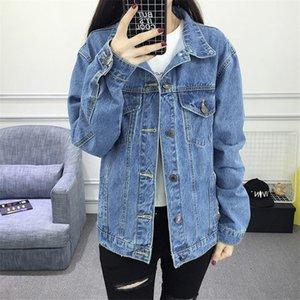 Jeans Jacket Women Casacos Feminino Loose Vintage Denim Jacket Femme Elegant Bomber New Turn-down Collar Basic Coats