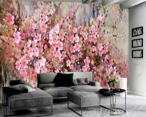 Pink Flowers Oil Painting 3d Wallpaper Living 3d Wallpaper Romantic Flower Decorative Silk 3d Mural Wallpaper