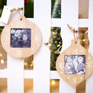 Sublimation Blanks Christmas DIY Ornaments DIY Wooden Photo Frame Pendant Christmas Decorations Ornaments For Home Photo Pendant XD24246