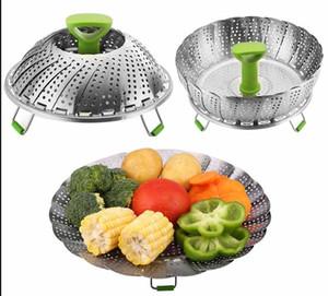 11 polegadas de aço inoxidável colapsible steamer multifuncional cesta de frutas de frutas cozinhar cozinha alimentos kamer cozinha