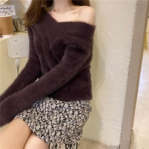 ZHUNUAN 2020 autumn winter soft sexy dew shoulder knit pullovers fashion Knitted jumper blouses tops women's sweaters