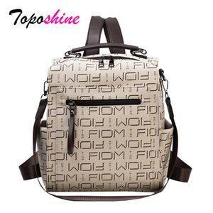 Toposhine Fashion Letters Printing Women's Famous Brand Soft PU Popular Backpack Bag Multifunctional Bags Q1113