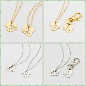 Dog Bone Charm Necklace Collar Matching Friendship Best Friend Keyring Jewelry Pet Jewelry Dog Lover Gift Set