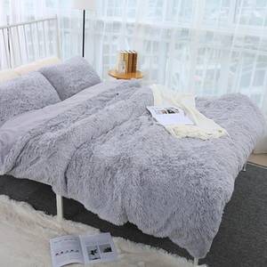 Conjuntos de ropa de cama de piel sintética de lujo modernos conjuntos de peluche de color sólido tapa de invierno de invierno con funda de almohada Twin Queen Tamaño