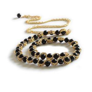 Hot Fashion pearl waist chain belt women with Belly dance 2020 Delicate gold Metal pearl rhinestone female belt straps