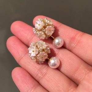 Mode einzigartiger Luxusdesigner Schöne hübsche Muschelblume Diamantperlen elegante Ohrstecker für Frau Mädchen doppelseitig