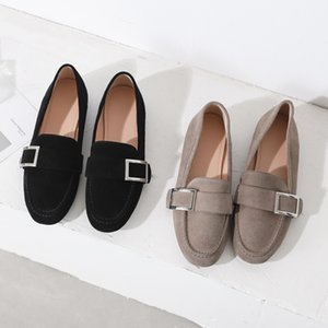 Hot Sale-New Arrival Fashion Square Metal Buckle Genuine Leather Women Loafers Shoes Flat Heels Casual Mules Shoes Office Dress