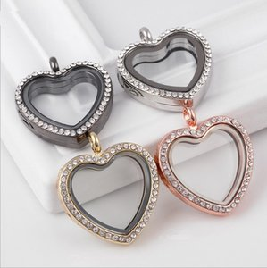 hot sale heart shape floating locket with crystals magnetic locket pendant Classic Heart Memory Jewelry free shipping