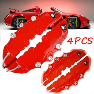 4pcs Car Disc Brake 3D Red ABS Plastic Caliper Covers Front Rear Automobile Brake Kit For 16''--22'' Wheel Brake Cylinder