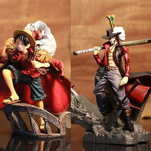 15cm Scultures Big One Piece Figure Toy Luffy Dracule Mihawk Model Doll With Sword Anime Brinquedos for Children Z1120
