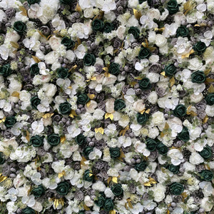 3D Artificial Flower Wall Panel Wedding Background Decoration Fake Flowers Gloded White Gray Green With Event