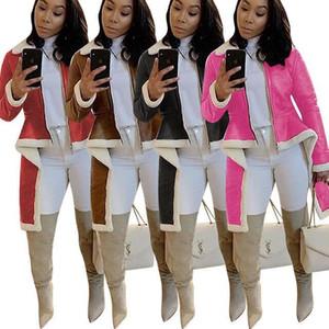 Europe and America 2020 New Winter women's Lamb Fur jacket integrated stand collar irregular hem coat Integrated Warm Zipper Windproof coat