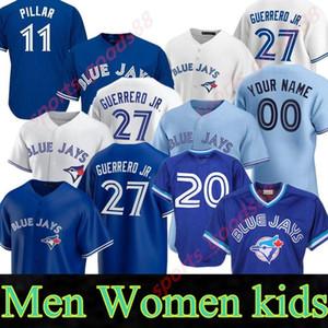 11 بو بيشيت 2020 2021 Blue Jays Jersey 27 فلاديمير غيريرو Jr. كافان Biggio Hyun-Jin Ryu Yamaguchi Randgio Gurriel Jr.Baseball Jr.Baseball Jersey