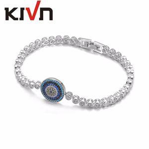 Kivn moda joyería pave cz cúbico circonia turco azul ojo encanto chicas para mujer chicas novia boda pulseras promoción cumpleaños regalo