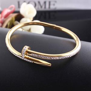 تيتانيوم الصلب سوار عيد الحب 1 خط كامل الماس صفعة سوار النساء 5.8 سنتيمتر الأزياء والمجوهرات لعشاق هدية لا مربع