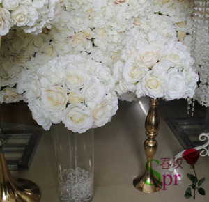 SPR light champagne wedding planning artificial rose flower wall backdrop decoration table centerpiece ball