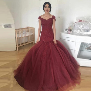 Burgundy Off Shoulder Mermaid Evening Dresses 2021 with Beaded Appliques Sweep Train Tulle Lace up Back Prom Gowns