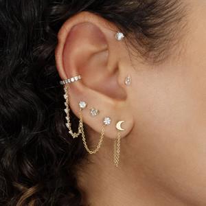 Tassel Earrings Moon Ear Piercing Long Chain Golden Tassel Earrings Jewelry Circle Huggies for Women Girls
