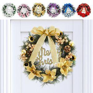 Christmas Decoration 40cm Rattan needle Wreath Xmas Ornament Handmade Wreath String Front Door Hanging Rattan Pendant Garland Z1201