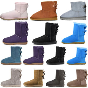 2021 Diseñador Classic ugg uggs Wgg Short Bailey Bow Button Triplet Australia Mujeres Boot Winter Boots Boots Furle Furry Bootie