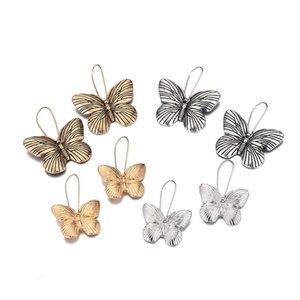 Vintage Butterfly Hoop Earrings Alloy Retro Simple Insect Earrings Elegant Butterfly Earrings For Womens ( Gold , Silver)